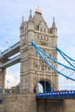 Detail of girders and tower on Tower Bridge from the South Bank. London Stock Photography