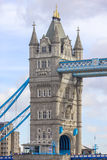 Detail of girders and tower on Tower Bridge from the South Bank. London Stock Images