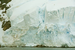 Detail, glacier floweing into ocean, icefalls Stock Images
