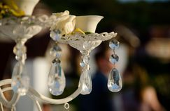 Detail of glass decoration. At the ceremony with the yellow rose Stock Images