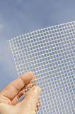 Detail of glass-fiber mesh in hand. Reinforcing material for insulation Royalty Free Stock Photos