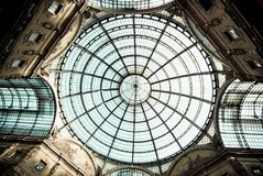 Detail of the glass roof of the Vittorio Emanuele II gallery Royalty Free Stock Image