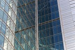 Detail of a glass steel fa�ade of business building in Warsaw. Poland royalty free stock photos