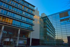 Detail of glass windows  , the Administrative Centre in the southern city gent Stock Photo