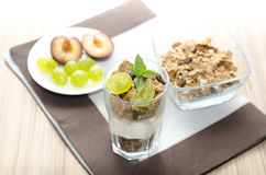 Detail of glass with yogurt, cereals, fruit and mint, plums Royalty Free Stock Photos