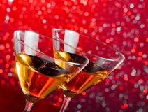 Detail of glasses of cocktail on bar table Stock Image