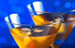 Detail of glasses of  fresh cocktail with ice Stock Photo