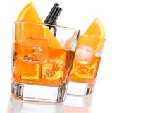 Detail of glasses of spritz aperitif aperol cocktail with orange slices and ice cubes Stock Images
