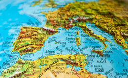 Detail of a globe with Mediterranean area Stock Photo