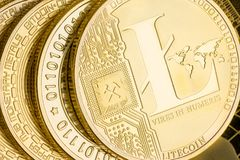 Detail of a gold Litecoin cryptocurrency coin Royalty Free Stock Images