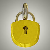 Detail on gold metal padlock Stock Photo