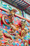 Detail of Golden Dragons wall decoration Stock Image