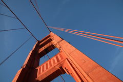 Detail of the Golden Gate Bridge on San Francisco. The iconic red bridge was opened in 1937. It connects San Francisco to the Marin headlands where the Bay meets Stock Photo