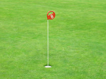 Detail of a golf course. Hole marking with number on a golf course Royalty Free Stock Images