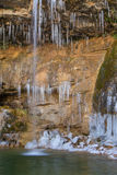 Detail of Gorg Gran de Colomer frozen. Ripolles, Spain. Stock Photography