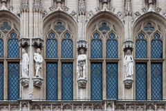 Detail of the gothic architecture of the Town Hall of Brussels, Stock Image