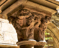 Detail of gothic capital in Se Velha stock photography