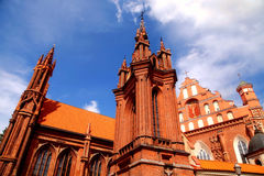 Detail of gothic St. Anne's Church and the Church of St. Francis Royalty Free Stock Image
