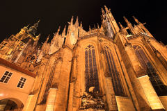 Detail of the gothic St. Vitus' Cathedral on Prague Castle in the Night, Czech Republic Stock Photography