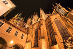 Detail of the gothic St. Vitus' Cathedral on Prague Castle in the Night, Czech Republic Royalty Free Stock Photography