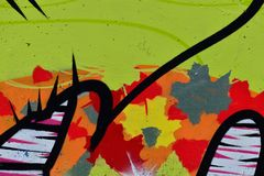 Detail of Graffiti on painted wall. Detail of Graffiti on the wall Stock Photography