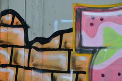 Detail of Graffiti on painted wall. Detail of Graffiti on the wall Royalty Free Stock Photos