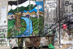 Detail of graffiti on the separation barrier between Palestine and Israel. BETHLEHEM, PALESTINE - OCTOBER 7, 2016: Detail of graffiti on the separation barrier Royalty Free Stock Image