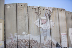 Detail of graffiti on the separation barrier between Palestine and Israel. BETHLEHEM, PALESTINE - OCTOBER 7, 2016: Detail of graffiti on the separation barrier Royalty Free Stock Photos