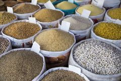 Detail of grain food on the market Stock Photos