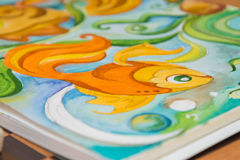 Detail graphic image of goldfish painted in watercolor royalty free stock images