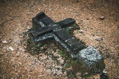 Detail of a grave in a cemetery royalty free stock photo