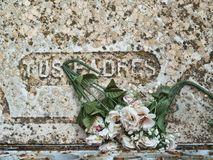 Detail of grave with inscription stock image