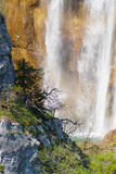 Detail of Great Waterfall on Plitvice Lakes Stock Photography