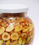 Detail of Greek Honey and Nuts in Natural Light Royalty Free Stock Images