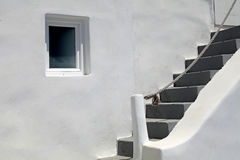 Detail of greek house with steps and window, Santorini Royalty Free Stock Photos