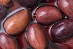 Detail of Greek Kalamata olives in brine Royalty Free Stock Photos