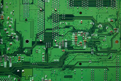 Detail of a green electronic computer circuit Stock Photos