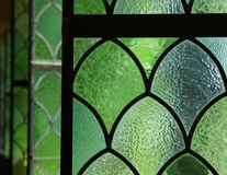Detail, Green Textured Glass Windows  (Horizontal) Stock Image