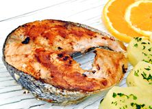 Detail of grilled salmon Stock Image