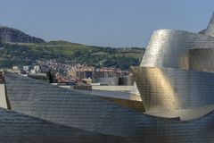 Detail of Guggenheim Bilbao museum roof royalty free stock photos