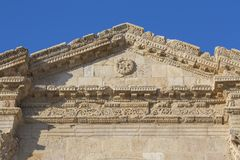Detail of Hadrian`s Arch in the ancient roman town Jerash in Jor. Dan Royalty Free Stock Image