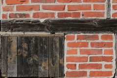 Detail of a half-timbered wall in sunlight royalty free stock photo