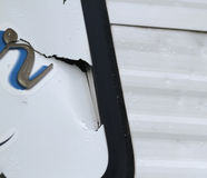 Detail of hall damage on a recreational vehicle Stock Images