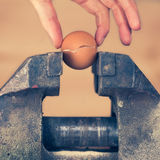 Detail of Hand Taking Apart a Cracked Egg by Vice Stock Images
