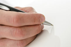 Detail of hand writing on copy space Royalty Free Stock Photos