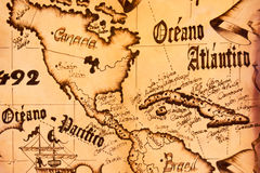 Detail of a handcrafted leather map souvenir. Made by Cuban artisans and sold to tourists Royalty Free Stock Image