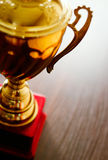 Detail of the handle on a gold trophy Stock Photo