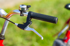 Detail on a handlebar of a bicycle Royalty Free Stock Image