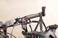 Detail Of Handlebars With Sunglasses. And Safety Helmet Stock Photo