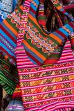 Handmade bags at the market, Cusco, Peru stock photos